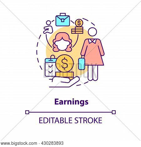 Earnings Concept Icon. Maternity Leave Payment Abstract Idea Thin Line Illustration. Statutory Paren