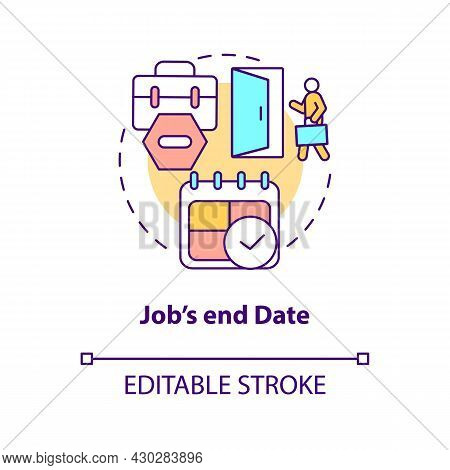 Job End Date Concept Icon. Resign From Job After Maternity, Parential Leave Abstract Idea Thin Line