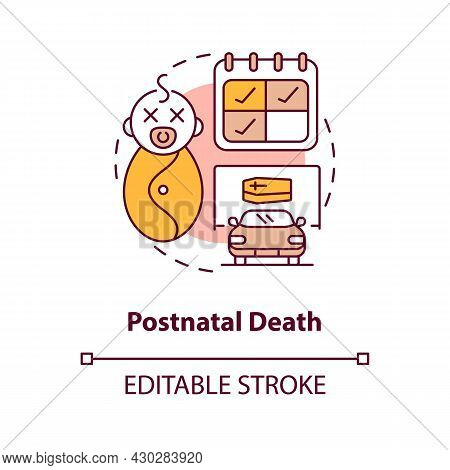 Postnatal Death Concept Icon. Death Of Newborn Abstract Idea Thin Line Illustration. Statutory Mater