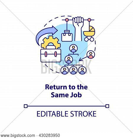 Return To Same Job Concept Icon. Get Back To Work After Maternity Leave Abstract Idea Thin Line Illu