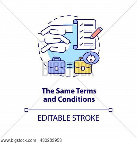 Same Terms And Conditions Concept Icon. Get Back To Work After Parental Leave Abstract Idea Thin Lin