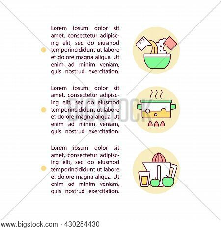 Recipes Options Concept Line Icons With Text. Ppt Page Vector Template With Copy Space. Brochure, Ma