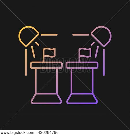 Political Show Gradient Vector Icon For Dark Theme. President Debate Broadcast On Television. Govern
