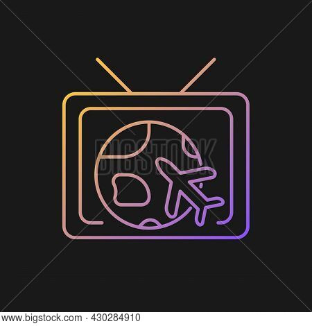 Travel And Adventure Show Gradient Vector Icon For Dark Theme. Journey Destination On Tv Series. Exp