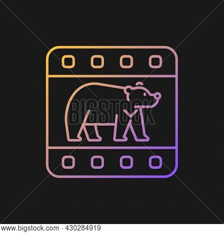 Wildlife Documentary Gradient Vector Icon For Dark Theme. Educational Television Series About Animal