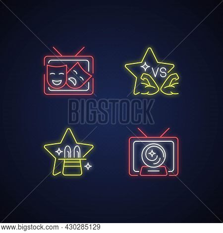 Tv Shows Genres Neon Light Icons Set. Drama Series. Talent Contest. Mystical Serial. Sport Competiti