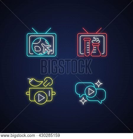Tv Series Neon Light Icons Set. Worldwide Travel And Adventure Program. Talk Show. Cooking Tutorial.
