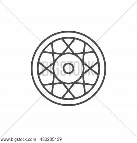 Motorcycle Rim Line Outline Icon Isolated On White