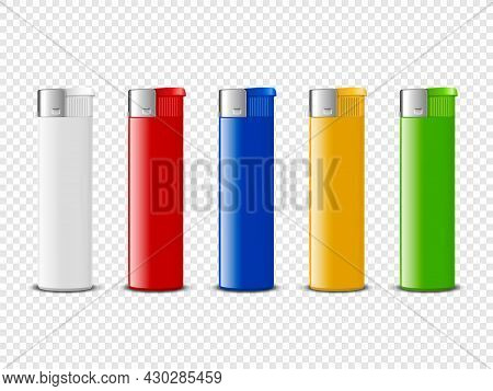 Vector 3d Realistic Blank White, Red, Blue, Yellow, Green Blank Cigarette Lighter Set Closeup Isolat