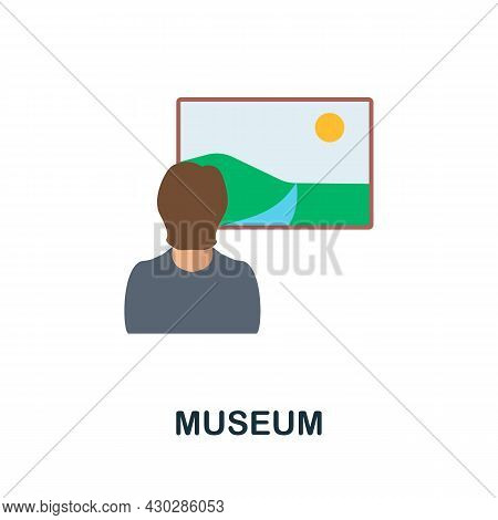 Museum Flat Icon. Colored Sign From Excursions Collection. Creative Museum Icon Illustration For Web