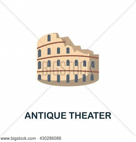 Antique Theater Flat Icon. Colored Sign From Excursions Collection. Creative Antique Theater Icon Il