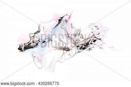 Art Abstract flow acrylic, ink and watercolor marble painting.  Black and pink Color wave texture blot on white horizontal background.