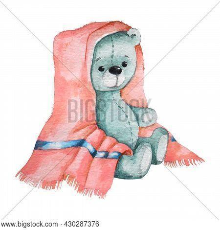 Gray Teddy Bear In A Towel. Watercolor Image.