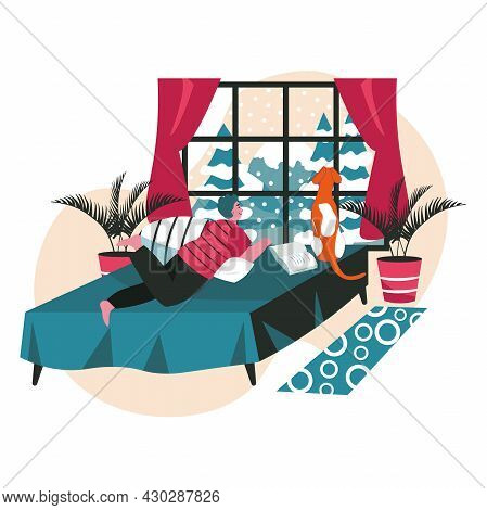 Different People Relaxing In Cozy Bedroom Scene Concept. Man Lies On Bed With Dog, Looks Out Window