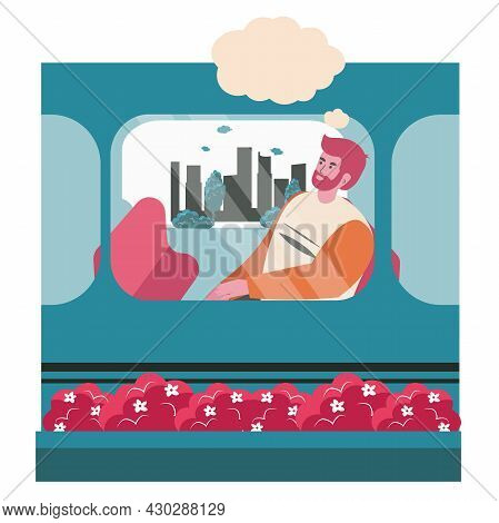 Dreaming People Scene Concept. Man Sits In Train Car And Thinks With Empty Bubble Over Head. Imagina