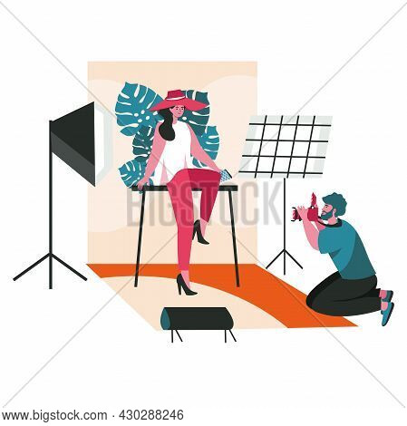 People Work As Photographers Scene Concept. Man Makes Photo Session Of Posing Fashion Model In The S