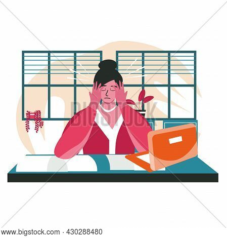 Rudeness In A Business Team Scene Concept. Overworked Woman With Headache Sits At Desk. Problems, Co