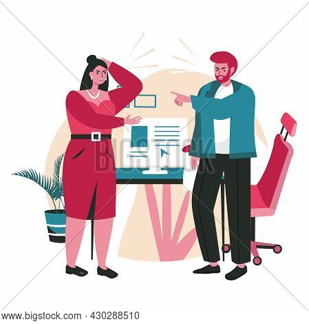 Rudeness In A Business Team Scene Concept. Man And Woman Employees Or Managers Arguing. Problems, Co