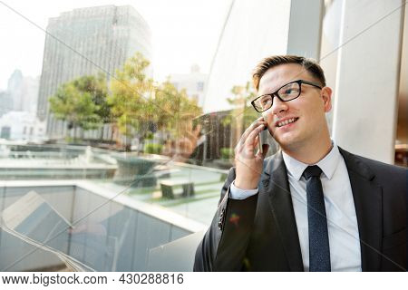 Businessman Working Talking Phone Concept