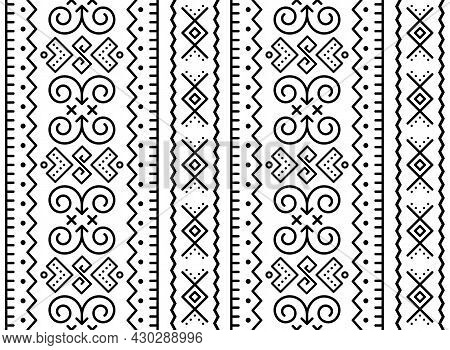 Slovak Tribal Folk Art Vector Seamless Geometric Pattern, Retro Decor Inspired By Traditional Painte