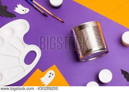 Handmade Craft Project. Creative Diy Concept. Making Cute Monster For Halloween. Step By Step Photo