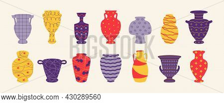 Pottery. Cartoon Antic Vase And Vessel Of Ceramic, Interior Design Decoration With Ornaments And Sym