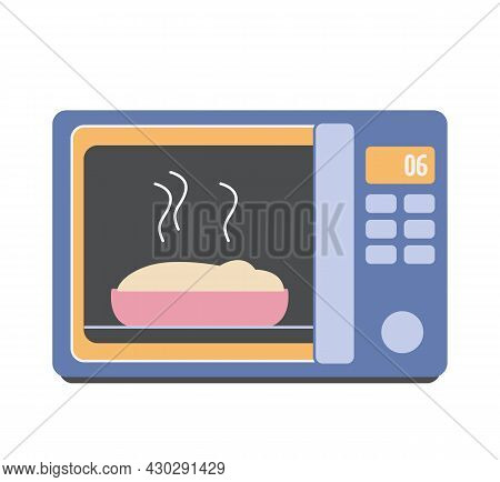 A Flat Microwave Oven Icon In Blue With A Pie Inside. The Food Is Heated In The Oven. Vector Hand Dr