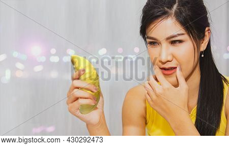 Woman Eating Durian Popular Tropical Fruits At Night : Beautiful Young Woman Holding Sweet Smelling
