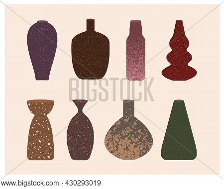 Ceramic Vase Collection With Texture. Hand Drawn Ceramic Pottery Vector Set. Different Shapes In Min