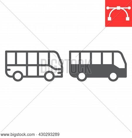 Bus Line And Glyph Icon, Transportation And Vehicle, Bus Vector Icon, Vector Graphics, Editable Stro