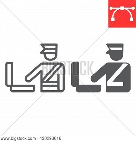 Customs Inspection Line And Glyph Icon, Security Checkpoint And Airport, Luggage Control Vector Icon