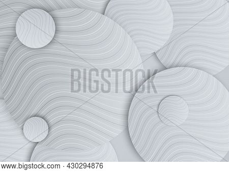 Abstract White And Grey Gradient Circles Overlap With Line Curved Layers Design On Grey Background.