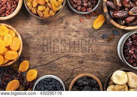 Natural Dried Fruits In Bowls. Healthy Food Snack: Sun Dried Organic Mix Of Apricots, Figs, Raisins,