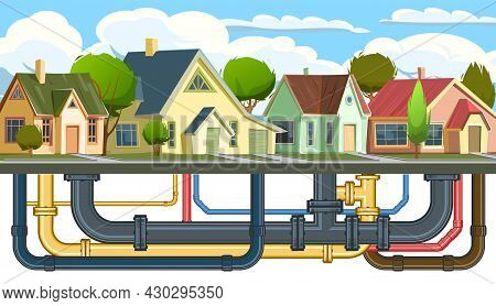 Pipeline For Various Purposes. Pipes Of Different Color Calibration. Underground Part Of System. Car