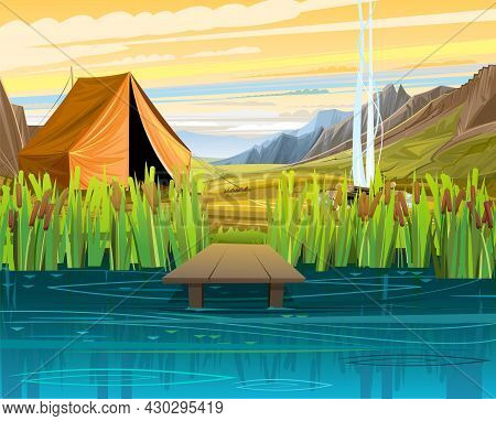 Pier For Fishing On Coast Of River Or Lake. Wild Pond. Summer Landscape. Mountains For Tourism. Tent