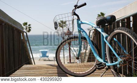 Blue Bicycle, Cruiser Bike By Ocean Beach, Pacific Coast, Oceanside California Usa. Summertime Vacat