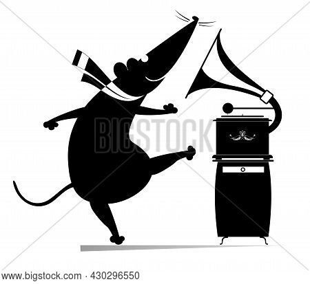 Cartoon Rat Or Mouse And Retro Record Player Illustration.  Funny Rat Or Mouse Listening Music By Vi