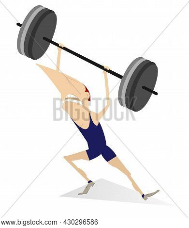 Cartoon Man Weightlifter Isolated Illustration.  Funny Strong Man Is Trying To Lift A Heavy Weight I