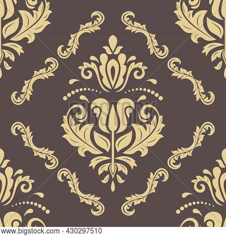 Classic Seamless Pattern. Damask Orient Ornament. Brown And Golden Classic Vintage Background. Orien