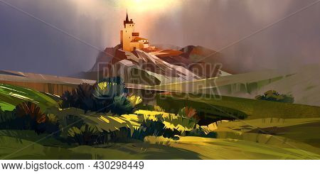 Painted Vivid Landscape With Medieval Castle On The Hill