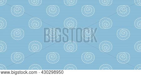 Summer Seamless Shell Pattern. Marine Background. Vector Illustration With Shells. Outline Shells On