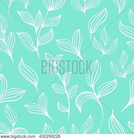 Pattern Of Delicate White Leaves On A Mint Background Vector Illustration. Seamless Deciduous Backgr