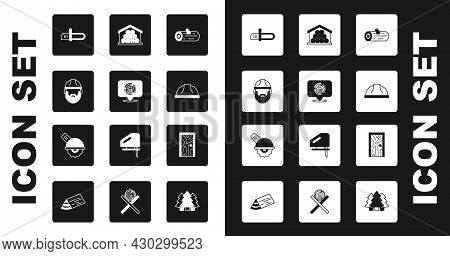 Set Wooden Logs, Lumberjack, Chainsaw, Worker Safety Helmet, Closed Door And Electric Circular Icon.