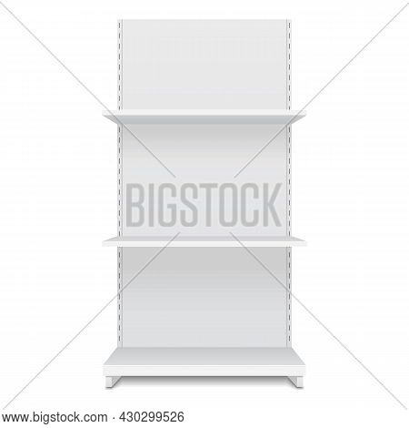 White Blank Empty Showcase Display With Retail Shelves. Front View 3d. Illustration Isolated On Whit