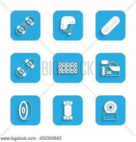 Set Skateboard Wheel, Longboard Or Skateboard, Cinema Camera, Ball Bearing, And Broken Icon. Vector