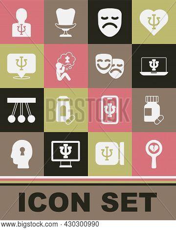 Set Broken Heart Or Divorce, Sedative Pills, Psychologist Online, Drama Theatrical Mask, Man Graves