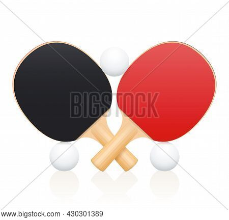 Table Tennis Bats, Crossed Ping Pong Paddles Balancing With Balls. Symbol For Sporting Competition,