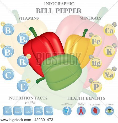 Infographic About Nutrients In Bell Pepper. Vector Illustration Of Bell Pepper, Vitamins, Vegetables