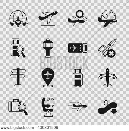 Set Escalator Down, Plane, No Scissors, Airplane Search, Airport Control Tower, Lost Baggage, Globe