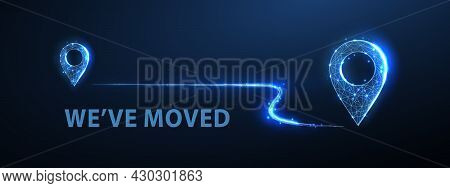 Two Pin Icons With Move Path. New Office Location, Change Business Address, Relocate Store Or Shop,